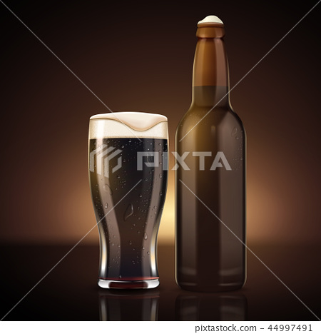 Blank beer bottle with glass cup 44997491