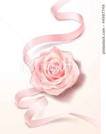 Pink rose and ribbon 44997749