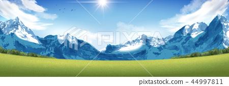 Spectacular snow mountain scenery 44997811