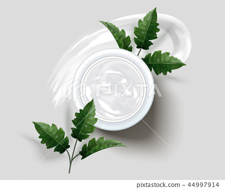 Cream jar with leaves 44997914