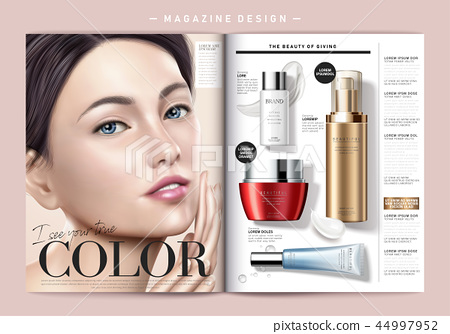 Cosmetic magazine template 44997952