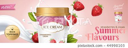 Premium strawberry ice cream cup 44998103