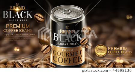 Premium black canned coffee ads 44998136