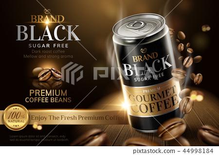 Premium black canned coffee ads 44998184