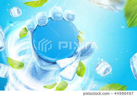 Frozen hand holding product 44998497