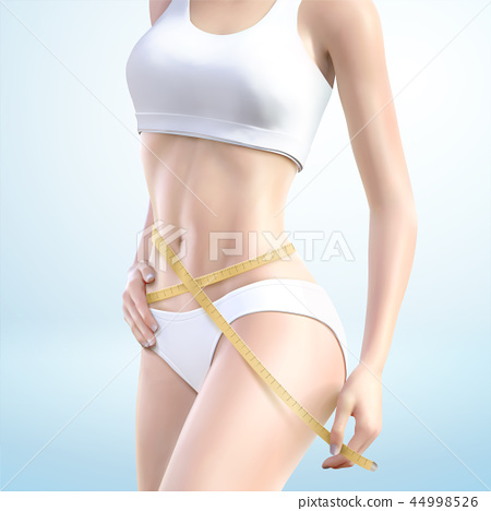 Fitness woman measuring her waist 44998526