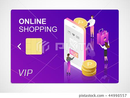 3d isometric online shopping 44998557