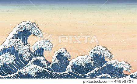 wave tides in Ukiyo-e style 44998707