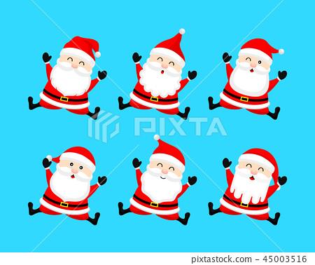 Collection of cute cartoon Santa Claus.  45003516