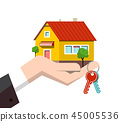 Family House Icon in Human Hand with Keys 45005536