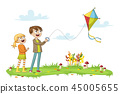 Two Kids Fly a Kite 45005655