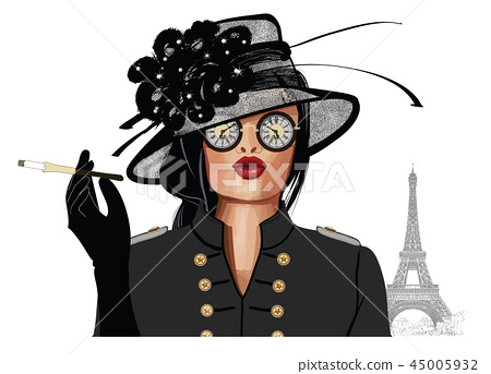 Woman with sunglasses and hat 45005932