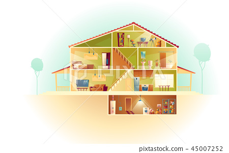 Vector cartoon house in cross section, background 45007252