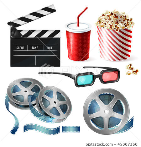 Cinema clipart of 3d realistic objects 45007360