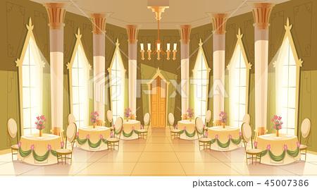 cartoon castle hall, ballroom for dancing 45007386