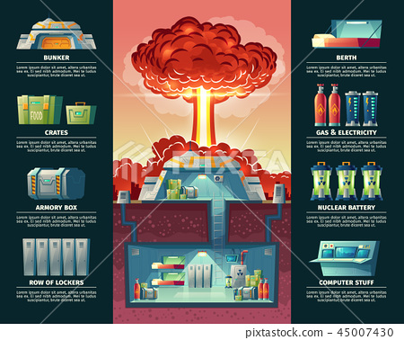 cartoon poster of nuclear shelter, bunker 45007430