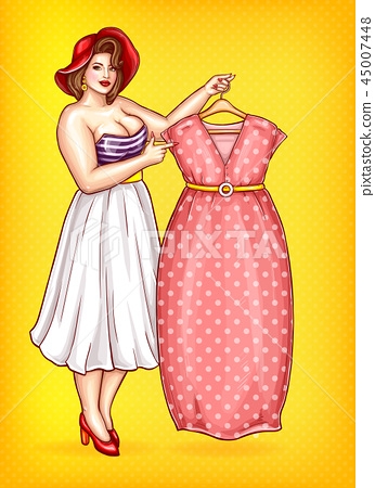 overweight woman, tailor pointing at dress 45007448