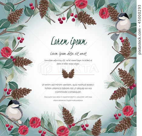 Vector illustration of floral frame with a bird 45008293