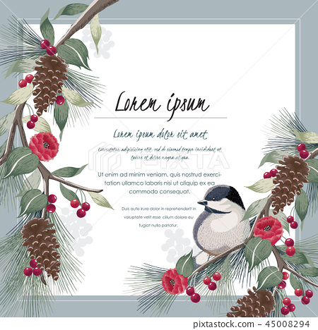 Vector illustration of floral frame with a bird 45008294