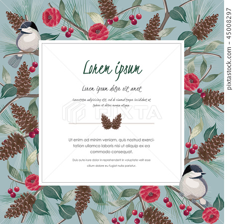 Vector illustration of floral frame with a bird 45008297