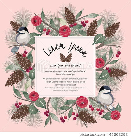 Vector illustration of floral frame with a bird 45008298