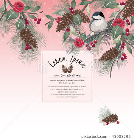 Vector illustration of floral frame with a bird 45008299