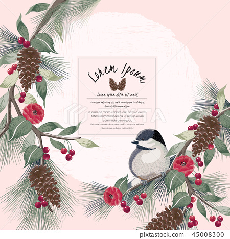 Vector illustration of floral frame with a bird 45008300