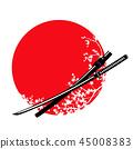 katana sword, cherry tree blossom and red sun 45008383