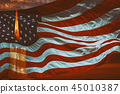 Light candle burning brightly in the American flag 45010387