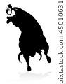 bull silhouette silhouettes 45010631