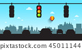 Car Silhouettes with Traffic Lights and Skyline 45011144
