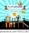Kids on Playground in City Park. Vector Cartoon. 45011183