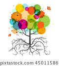 Spring Tree with Roots and Colorful Splashes 45011586