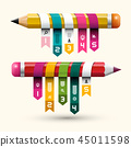 Colorful Paper Labels on Pencils. Creative Project 45011598