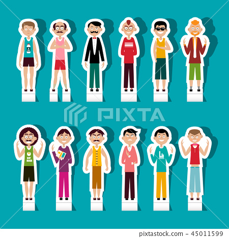 Paper Cut Men Set. Vector People Avatar. 45011599