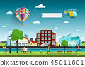 City, People and Hot Air Balloon with Helicopter 45011601