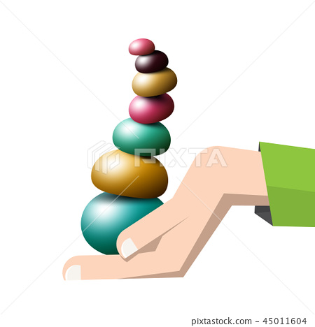 Colorful Pebbles Pile in Human Hand - Vector 45011604