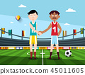 Soccer Players Holding Hands on Football Stadium 45011605