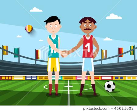 Soccer Players Holding Hands on Football Stadium 45011605