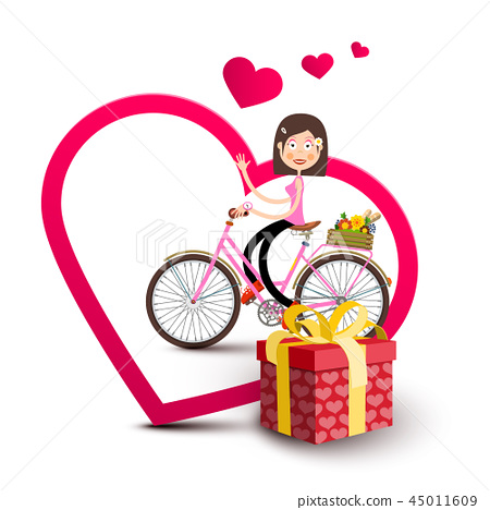 Woman on Bicycle Inside Big Heart with Gift Box 45011609