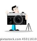 Photographer with Retro Camera 45011610