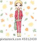 Vector fashion girl in autumn clothes 45012430