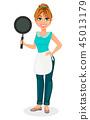 woman frying pan 45013179
