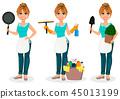 housework woman frying 45013199