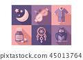 Sleep time icons set, sweet dreams elements, good night vector Illustration vector Illustration 45013764