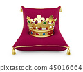 Gold King crown on the magentas pillow isolated white 3d illustration 45016664