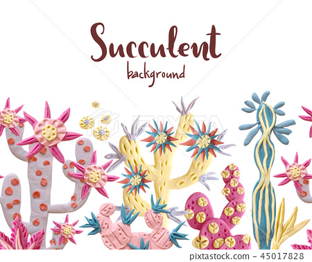 Plasticine succulent with flowers illustration. Seamless border, 45017828