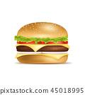 Realistic Detailed 3d Classic American Hamburger. Vector 45018995