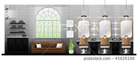 Interior scene of vintage barber shop 45020198