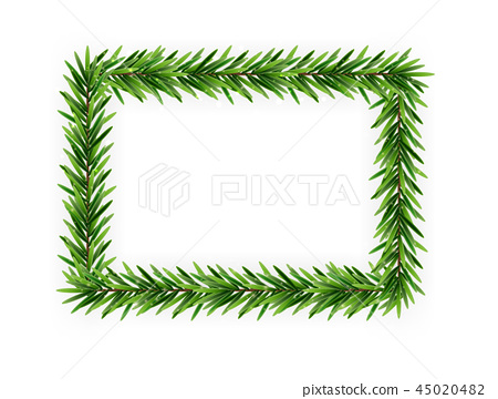 Christmas Branch Vector.Colorful Realistic Christmas And New Year 3d Frame Of